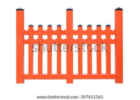 Modern style red fence isolated on white background. Object with clipping path. - stock photo
