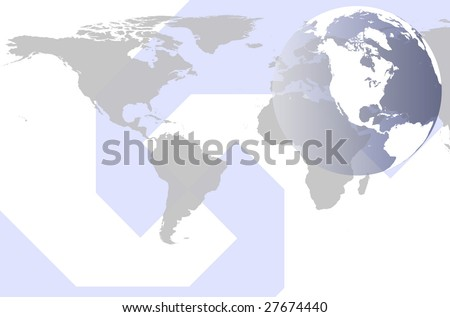 Modern style world map globe stock illustration 27674440 modern style world map and globe gumiabroncs Gallery