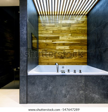 Modern stylish bathroom in the hotel