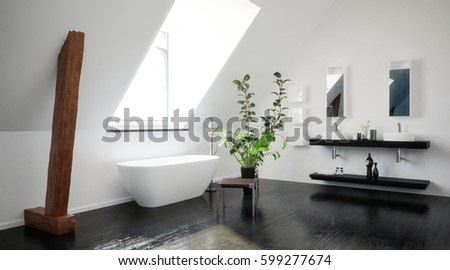 Modern Stylish Black And White Attic Bathroom With Exposed Wood Support  Beams, A Freestanding Tub