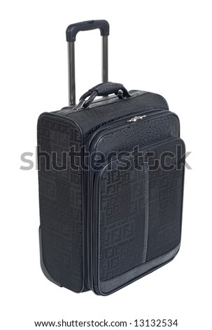 Modern stylish black travel suitcase with pullout handle isolated on white - stock photo