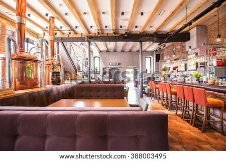 Modern stylish interior of new big restaurant