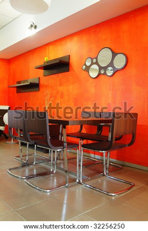 Modern stylish interior of orange colour - stock photo