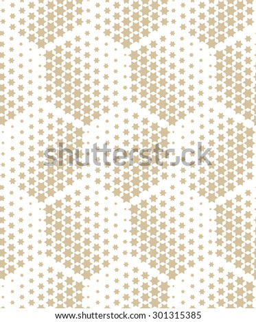 Modern stylish texture of the hexagons, stars . Seamless pattern. Repeating geometric tiles. White and gold ornament - stock photo