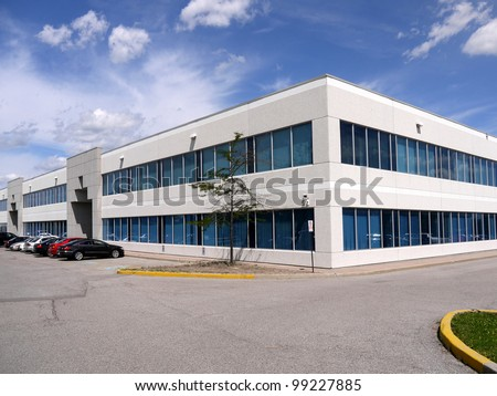 Modern suburban low rise office building - stock photo