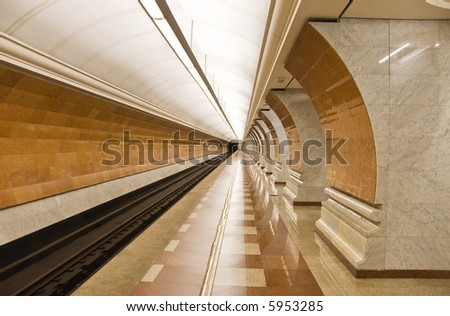 Modern subway station. Moscow Russia. Wide angle view.