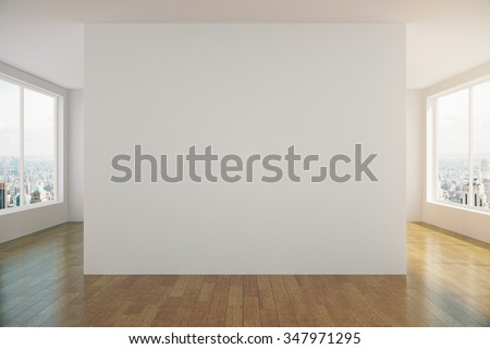 Modern sunny empty loft room with white wall and wooden floor 3D Render - stock photo