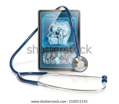 Modern tablet computer with MRI scan on screen. - stock photo