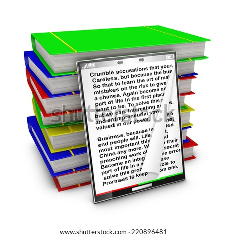 modern tablet with text inside on a background of colorful books - stock photo