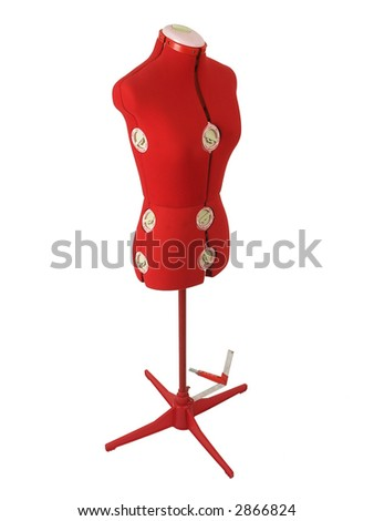 Modern tailor's dummy on a white background - stock photo