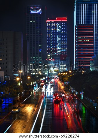 Modern Taipei City street At Night Neon Light