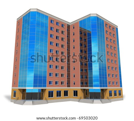 Modern tall business building isolated on white - stock photo