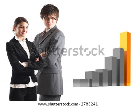 Modern Team satisfied with results - 3d finance graphic behind them - stock photo