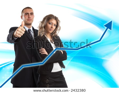 Modern Team satisfied with results - finance chart in front of them