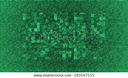 Modern tech green looking background with glowing squares with vibrant contours. - stock photo