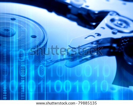 Modern technologies background with binary code and hard disk - stock photo