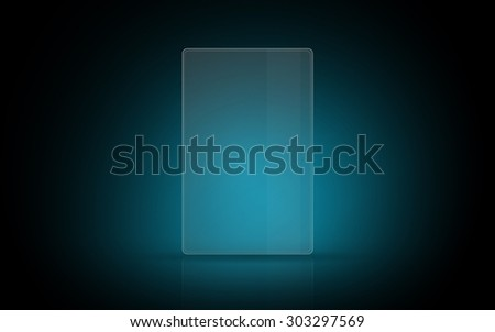 modern technology and futuristic concept - blank illuminating virtual tablet or digital screen - stock photo