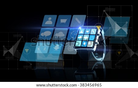 modern technology, application, object and media concept - close up of black smartwatch with app icons on screen over black background - stock photo