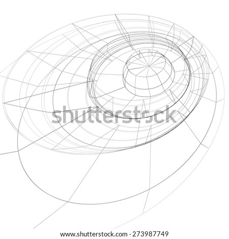 Modern technology black and white stylish background, abstract dimensional figure with lines mesh. 3d graphic complicated engineering backdrop. - stock photo