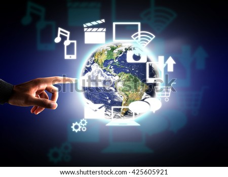 Modern technology in hand Elements of this image furnished by NASA - stock photo