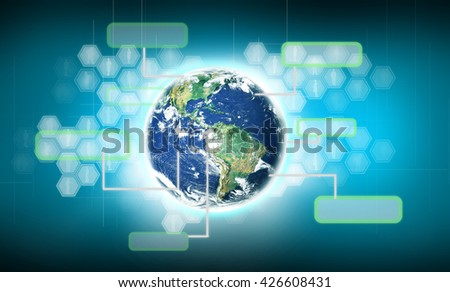 Modern technology in hand. Elements of this image furnished by NASA - stock photo