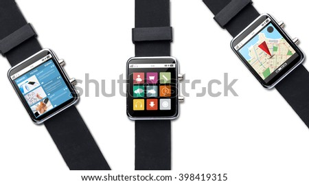 modern technology, object and media concept - close up of black smart watch with applications on screen - stock photo
