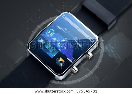 modern technology, object, navigation and media concept - close up of black smart watch with gps navigator map on screen - stock photo