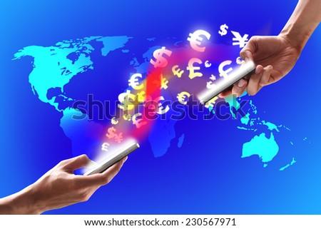 modern techonology on mobile - stock photo