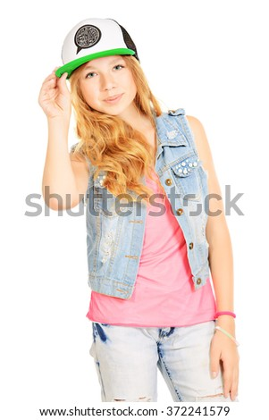 Modern teenager girl.  Studio shot. Isolated over white. Copy space.