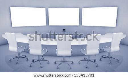 Modern teleconferencing room , high resolution telepresence interior - stock photo