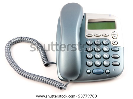 Modern Telephone With Receiver down on a white background - stock photo
