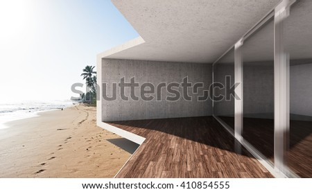 Modern terrace with large bay window and view of sea. 3D illustration.