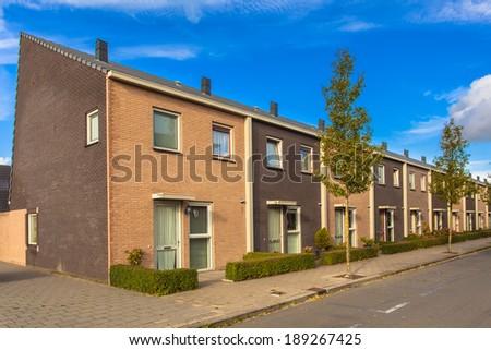 Modern Terraced Houses in a New Neighborhood - stock photo