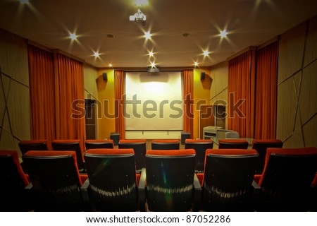 Modern Theater in luxury home. - stock photo