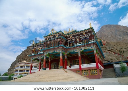 modern Tibetan monastery in the Himalayas, India