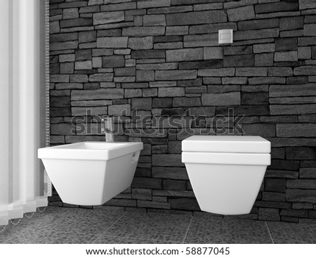 modern toilet with black stone wall and white equipment - stock photo