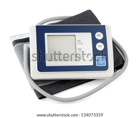 Modern tonometer for blood pressure measurement with digital monitor isolated on white - stock photo