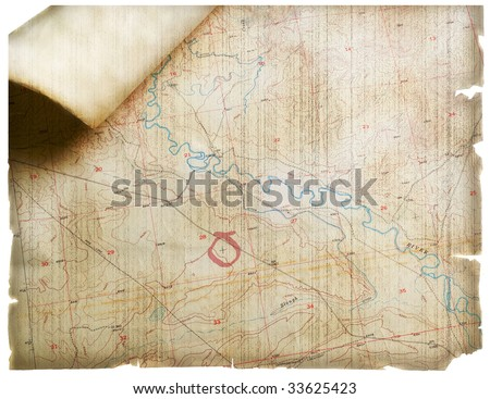 Modern Topo Map Rendered Old Parchment Stock Illustration ...