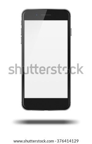 Modern touch screen smartphone with smart camera and blank screen in iphon style isolated on white background. - stock photo