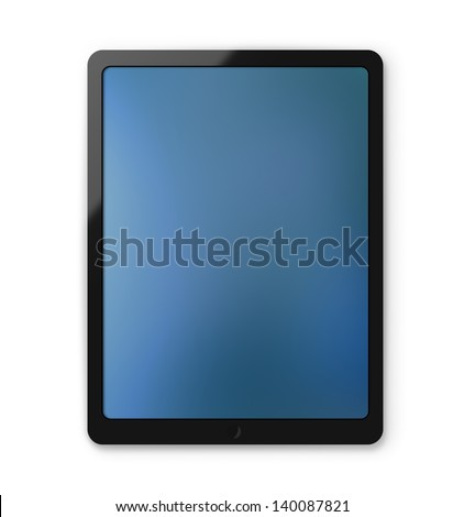 Modern touchscreen electronic pad tablet isolated on a white background with clipping path - stock photo