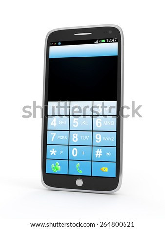Modern Touchscreen Smart Phone with Dial a Telephone Number Menu isolated on white background - stock photo