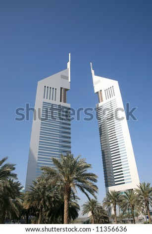 Modern Towers In Dubai UAE - stock photo