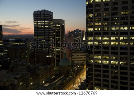 Modern town by night - stock photo