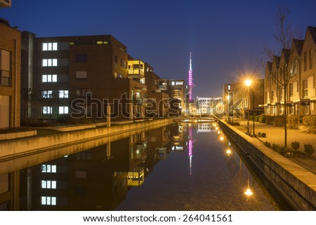 Modern town houses block in Hannover at evening - stock photo