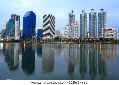 Modern Town in Bangkok with Reflection on Water, Thailand