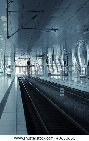 Modern train station in Frankfurt  (Germany) - stock photo