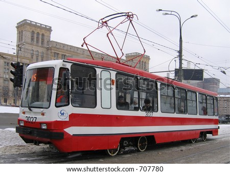 Modern tramway car in Moscow
