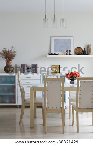 modern, trendy dining room - stock photo