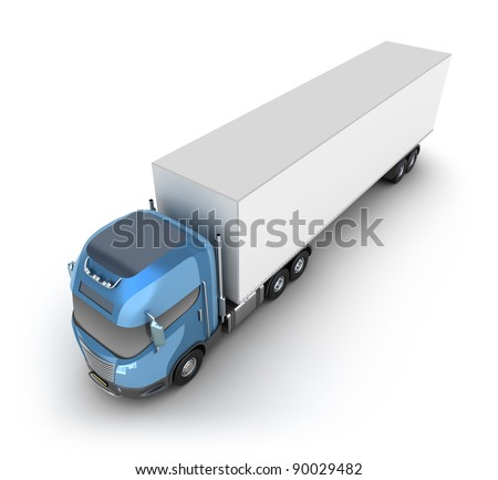 Modern truck with cargo container. My own Design. - stock photo