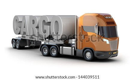 Modern truck with cargo word - stock photo